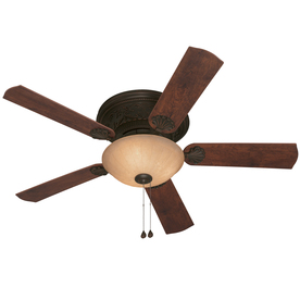 Harbor Breeze Lynstead 52-in Specialty Bronze Flush Mount Ceiling Fan with Light Kit