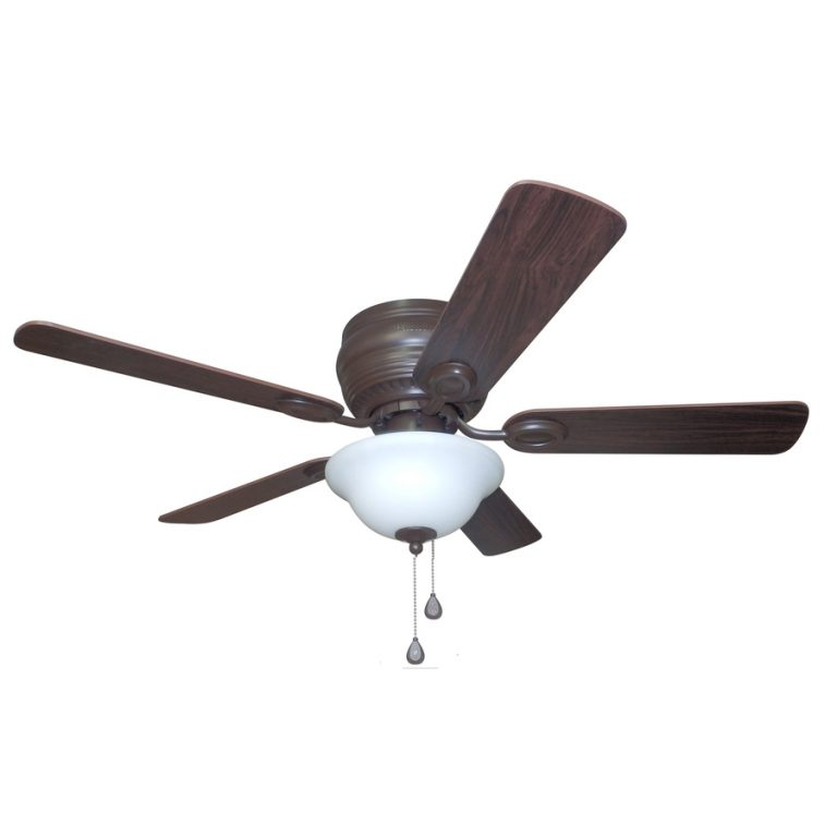Harbor Breeze Mayfield 44-in Bronze Flush Mount Indoor Residential Ceiling Fan with Light Kit
