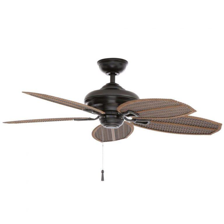 Hampton Bay Palm Beach Ii Outdoor Natural Iron Ceiling Fan Manual Ceiling Fans Hq