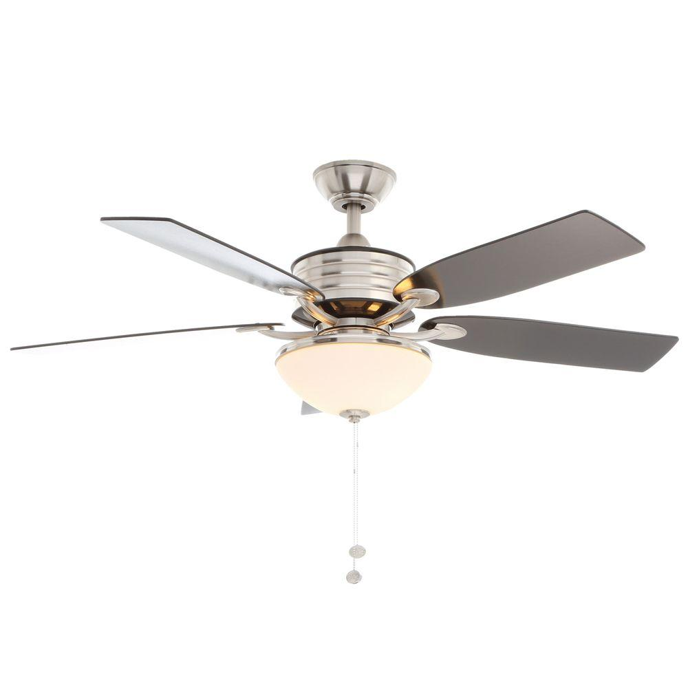 Hampton Bay Santa Cruz Brushed Nickel Ceiling Fan With
