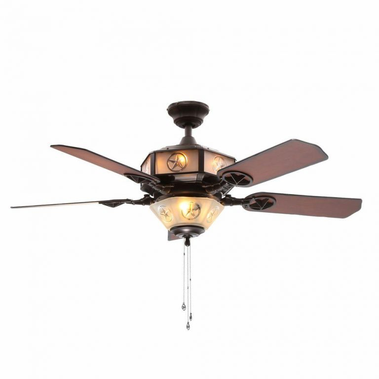 Hampton Bay Lonestar  Aged Copper and White Rock Ceiling Fan with Etched Glass Manual 1